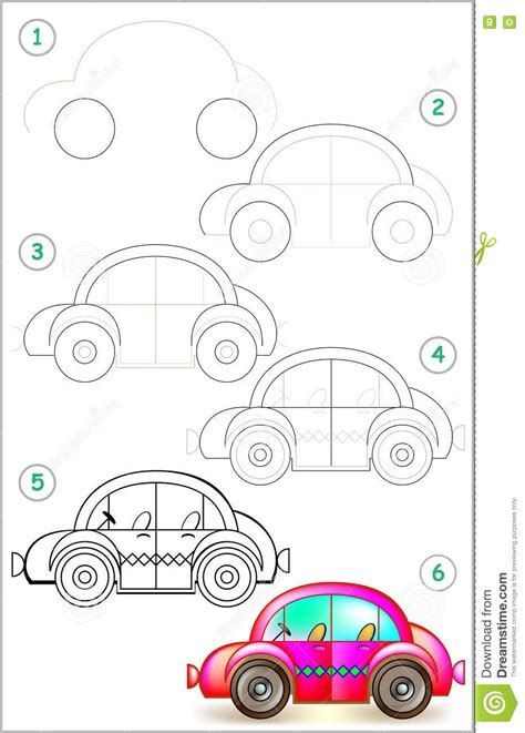 Auto 3d Malen by Page Shows How To Learn Step By Step To Draw Car Stock