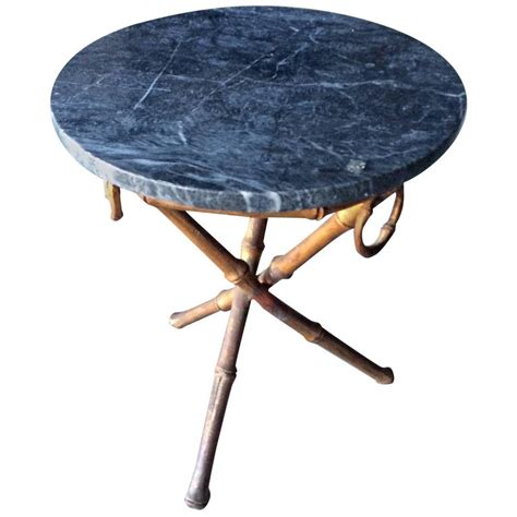 Tripod Side Table Bamboo Tripod Side Table With Marble Top At 1stdibs