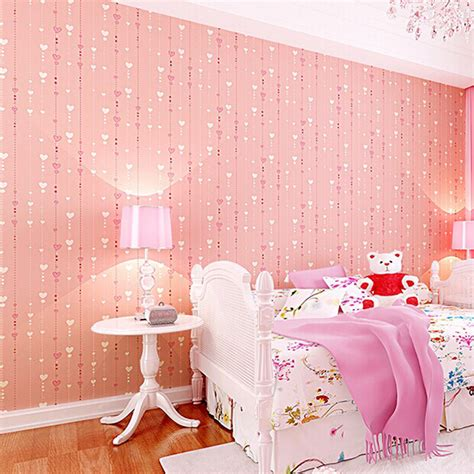 girls pink bedroom wallpaper pink wallpaper for kids non woven textured feature wall