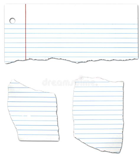 ripped looseleaf paper collection stock illustration