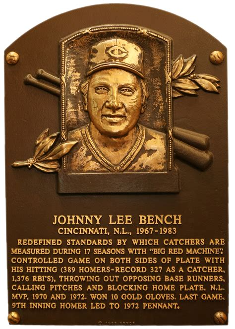 bench johnny baseball hall of fame