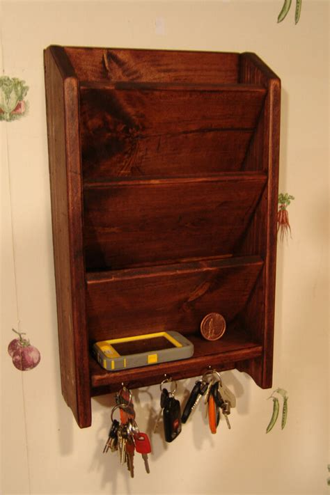 Letter Holders For Desk by 18 Quot Mail Letter Rack Handcrafted Wood Organizer Key Holder