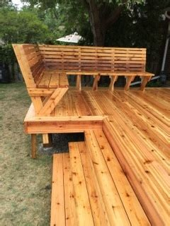 ana white custom cedar bench  deck diy projects