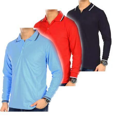 Polo Shirt Polos Kerah polo polos kerah list lengan panjang warna navy murah i