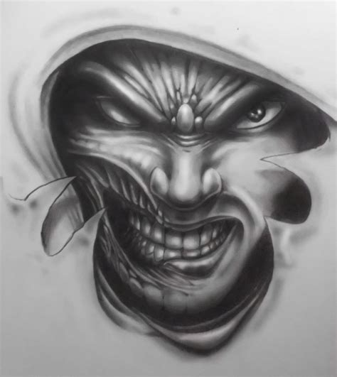 devil face tattoo designs evil design by karlinoboy on deviantart
