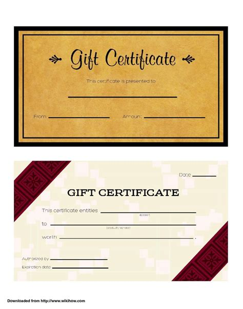 custom gift certificate template cool design of business gift certificate template brown
