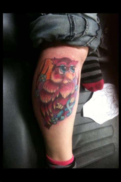 owl tattoo calf owl tattoo right calf