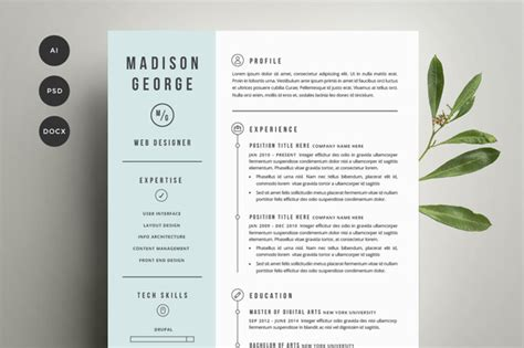 Creative Cover Letter And Resume Templates Resume Cover Letter Template Resume Templates On Creative Market