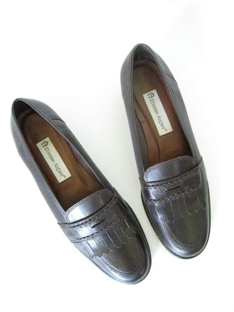 Aigner A473 Brown Rosegold A brown leather loafers size 8 5 etienne aigner