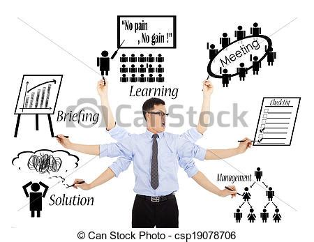 businessman busy daily schedules or multitaskings stock