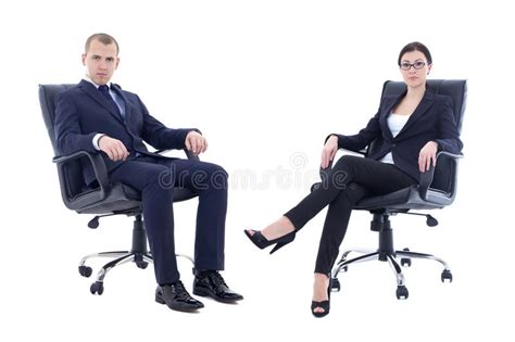 young man  beautiful woman  business suits sitting  offic stock photo image  portrait