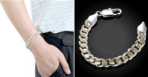 Men's Sterling Silver Gold Tone Bracelet