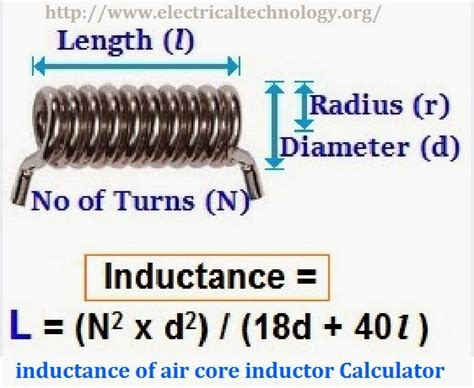 a what is the inductance of the inductor inductance of air inductor calculator