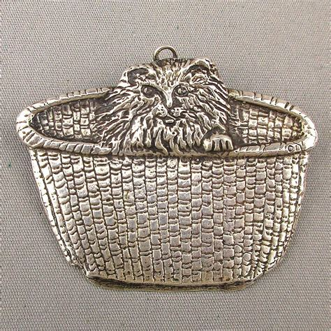 Handmade Silver Brooches - signed cat in a basket big handmade sterling silver pin
