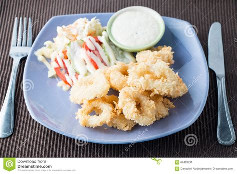 fried calamari salad order online mediterranean fried calamari greek island food specialty royalty free