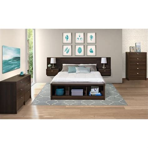 prepac series 9 designer floating w nightstands espresso