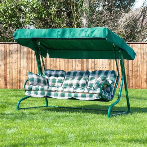 outdoor garden swing seat garden swing seat for 3 luxury cushions alfresia