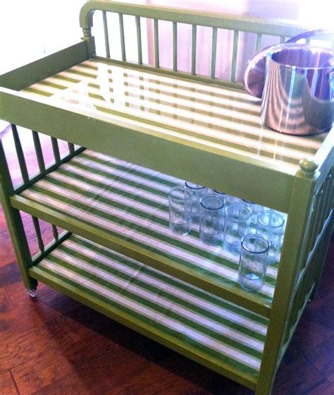 Repurposed Changing Table Repurposed Baby Changing Table To Rolling Drink Cart Add Casters Paint Fabric And Plexi