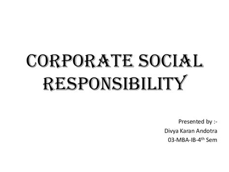 Mba In Corporate Social Responsibility by Corporate Social Responsibility