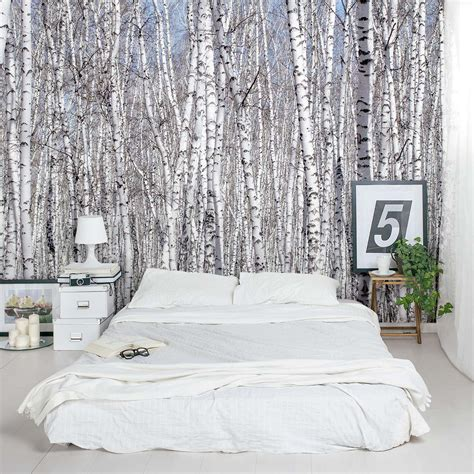 How To Decorate Bathroom Walls by White Birch Trees Wall Mural
