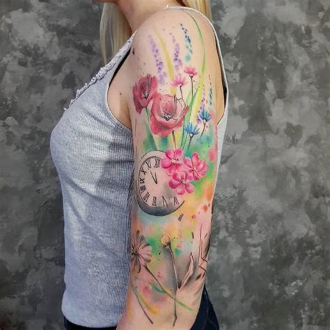 watercolor tattoo half sleeve 33 poetic watercolor designs by simona blanar