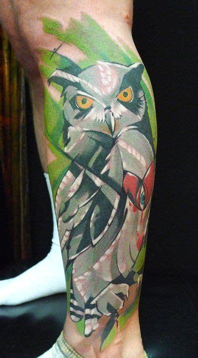 blue owl tattoo on leg tattoo designs pinterest peter bobek artistic owl on leg tattoo tattoos