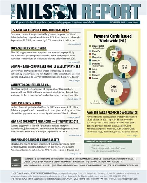 Credit Card Newsletter Card And Mobile Payment Industry News The Nilson Report Newsletter Archive
