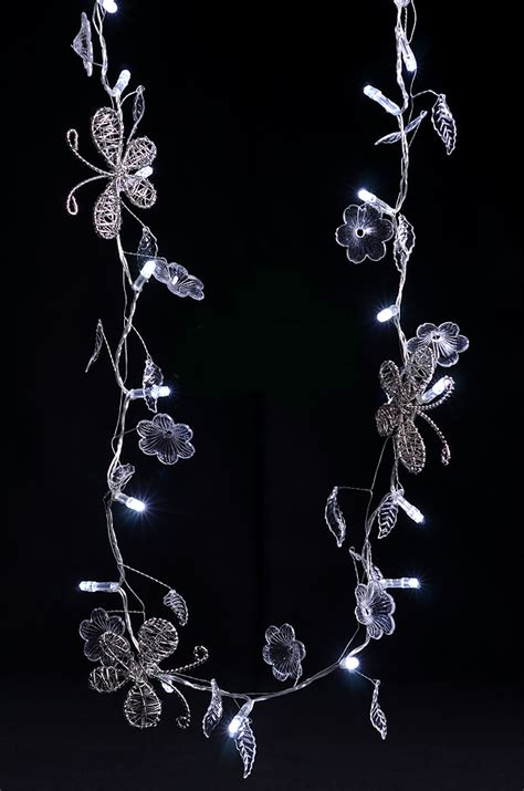 decorative butterfly crystal flower led string light garland