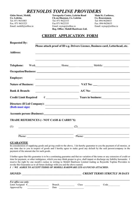 Credit Application Form Template Ireland Pin Credit Application Pdf On