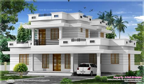 flat roof luxury home design kerala floor plans building bed room flat roof villa courtyard kerala home building