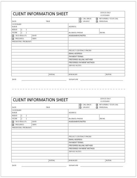 client information sheet template excel business format client information sheet word excel