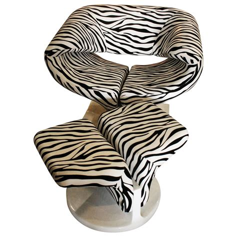 zebra chair and ottoman vintage pierre paulin ribbon style chair and ottoman