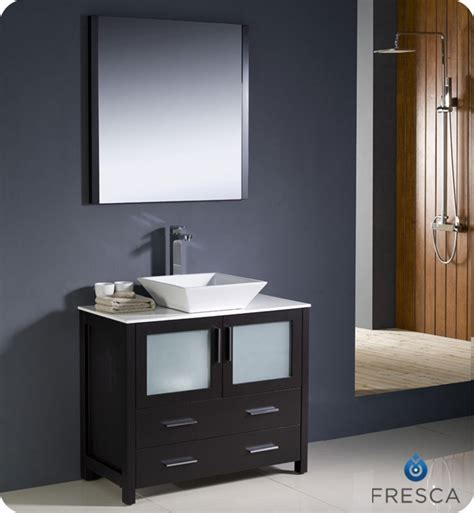 Modern Sink Cabinets For Bathrooms Fresca Torino 36 Quot Espresso Modern Bathroom Vanity With Vessel Sink