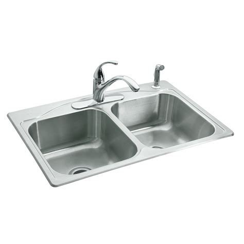 kitchen sink basin shop kohler cadence 22 in x 33 in double basin stainless