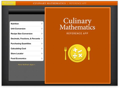 wolfram reference apps: cooking and culinary math, data
