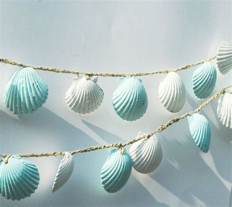 seashell decorations home beach themed decor seashell garland lt blue seashell