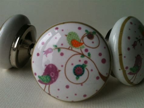 Whimsical Door Knobs by White Ceramic Whimsical Bird Drawer Knobs By Arellababy On