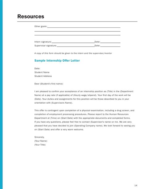 Internship Acceptance Letter From Student Employer Internship Toolkit