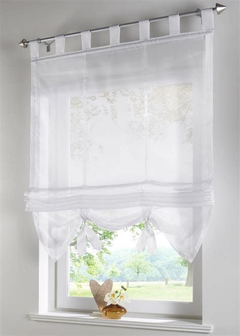 tab top voile blinds liftable curtain kitchen