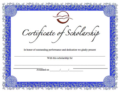 scholarship certificate template merit award certificate template word templates