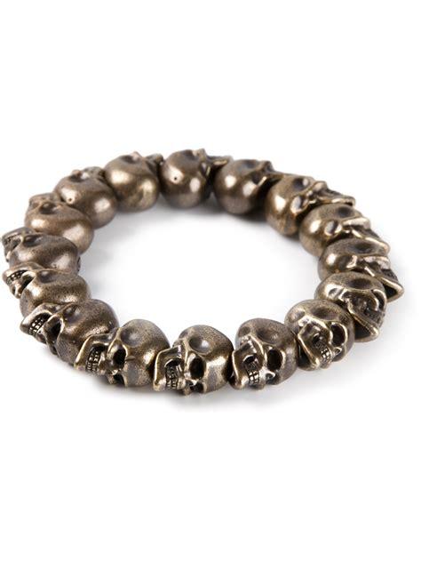 Mcqueen Skull Bead Bracelet In Brown Lyst
