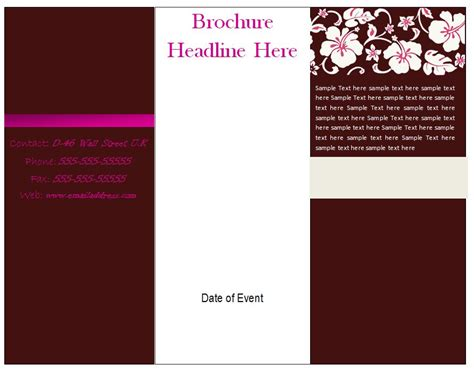 templates for tri fold brochures brochure templates free e commercewordpress