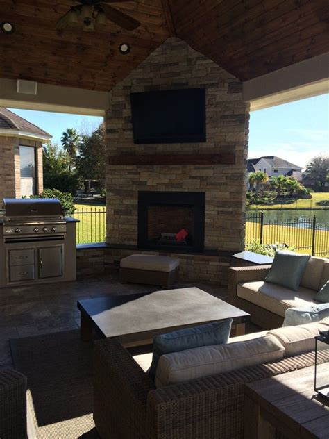 outdoor living space design backyard fireplace patio