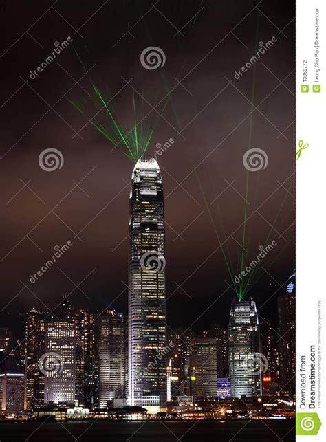 Laser Light Sepeda By Mr Pan lights show in hong kong stock photography image 13069772