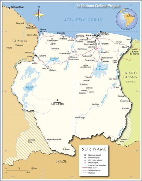 where is suriname on a map suriname mapa capital