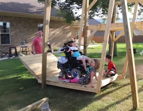 wheelchair accessible swing awesome dad designs builds wheelchair accessible swing