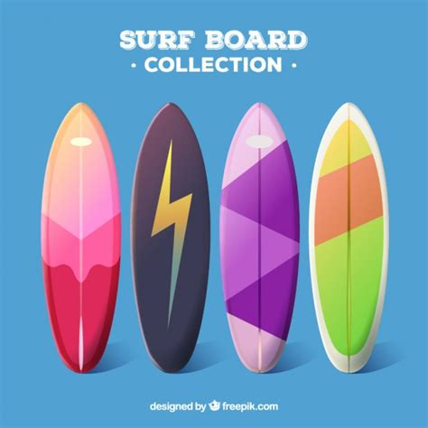 surfboard colors surfboard types in colors vector free