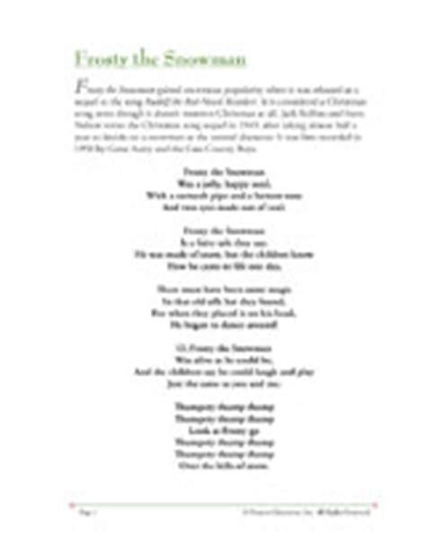 printable lyrics for frosty the snowman kid christmas music santa claus and christmas