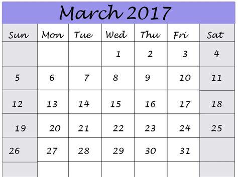 march calendar 2017 pdf printable monthly calendar 2017