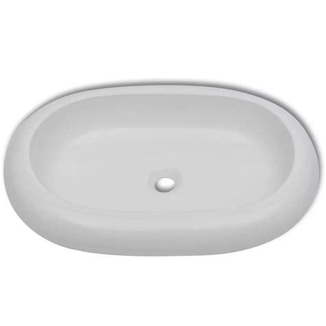 lavello bianco lavello bianco in ceramica di lusso a forma ovale 63 x 42